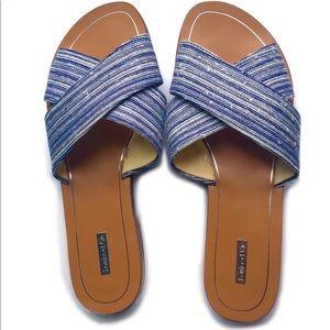 """Louse et Cie """"Bonnie"""" Striped Woven Slip On Sandal"""